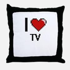 I love Tv digital design Throw Pillow