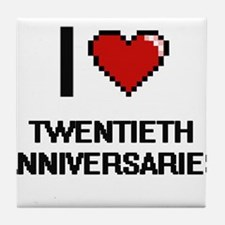 I love Twentieth Anniversaries digita Tile Coaster