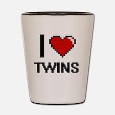 I love Twins digital design Shot Glass