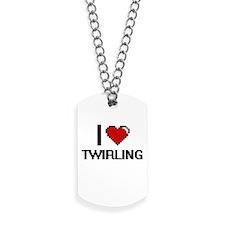 I love Twirling digital design Dog Tags