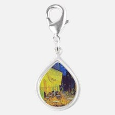 cafe terrace at night Silver Teardrop Charm
