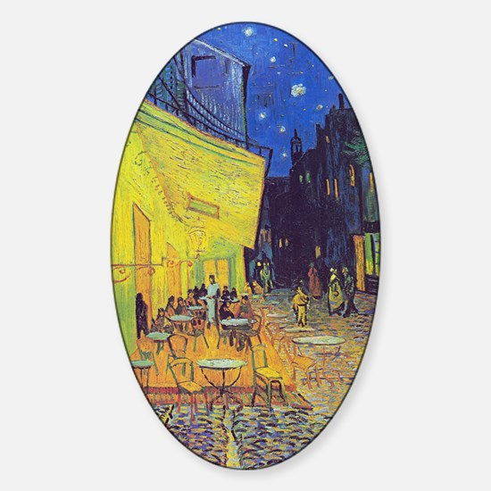 cafe terrace at night Sticker (Oval)