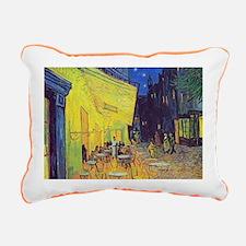 cafe terrace at night Rectangular Canvas Pillow