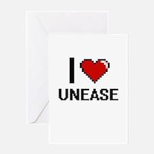 I love Unease digital design Greeting Cards