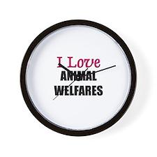 I Love ANIMAL WELFARES Wall Clock