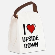 I love Upside Down digital design Canvas Lunch Bag