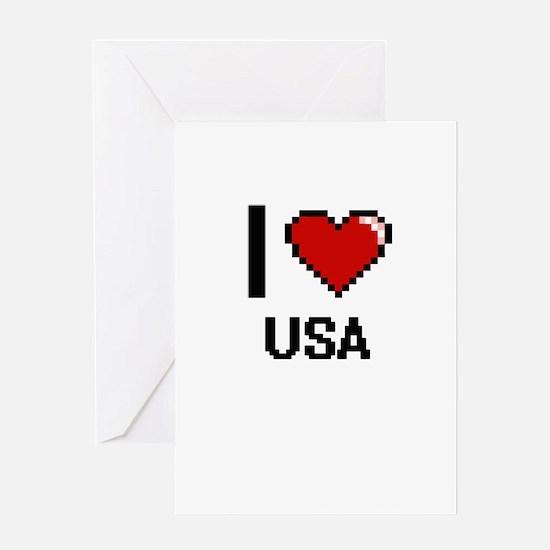 I love Usa digital design Greeting Cards