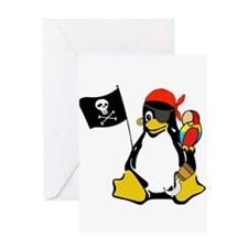 pirate-tux-notext Greeting Cards