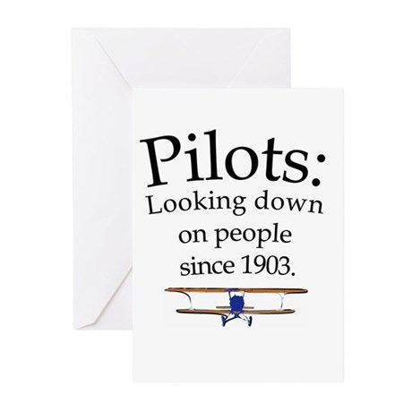 Pilots: Looking down on peopl Greeting Cards (Pk o
