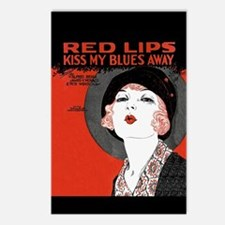 Vintage Red Lips Kiss Blues Postcards (Package of