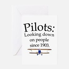 Pilots: Looking down on peopl Greeting Card