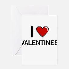 I love Valentines digital design Greeting Cards