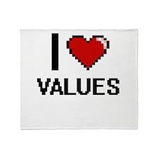 I love Values digital design Throw Blanket