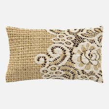 vintage rustic burlap and lace Pillow Case