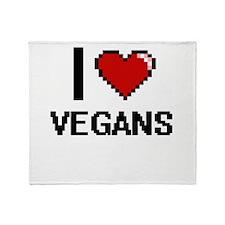 I love Vegans digital design Throw Blanket
