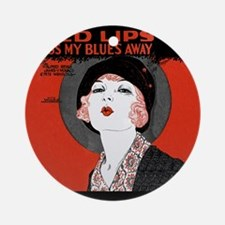 Vintage Red Lips Kiss Blues Round Ornament
