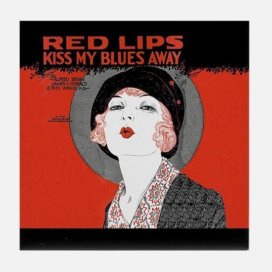 Vintage Red Lips Kiss Blues Tile Coaster