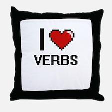 I love Verbs digital design Throw Pillow