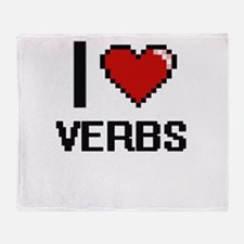 I love Verbs digital design Throw Blanket
