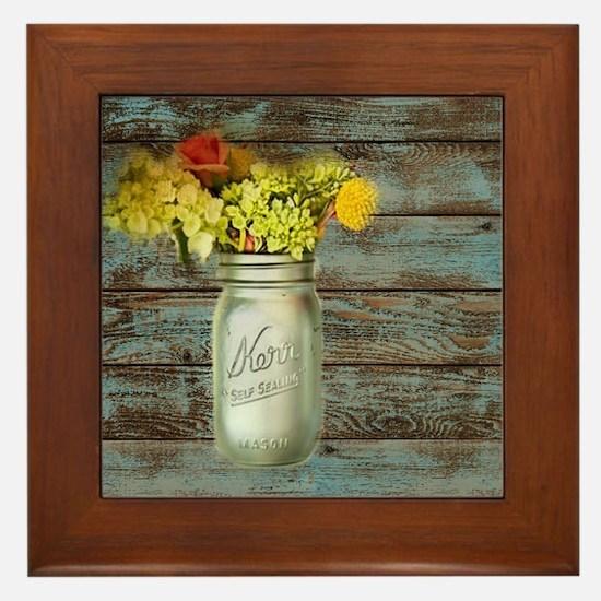 country mason jar flower  Framed Tile