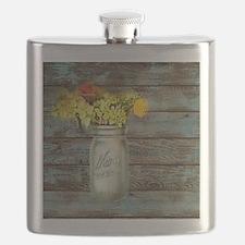 country mason jar flower  Flask
