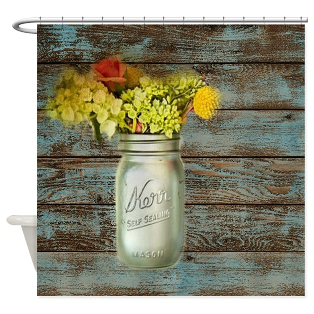 Country Mason Jar Flower Shower Curtain By Listing-store