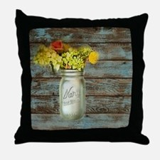 country mason jar flower  Throw Pillow