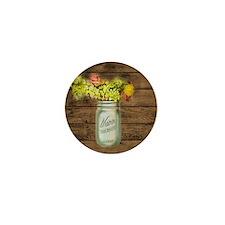 country mason jar flower  Mini Button