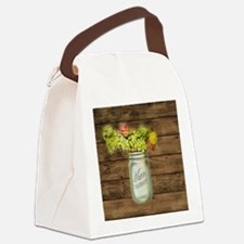 country mason jar flower  Canvas Lunch Bag