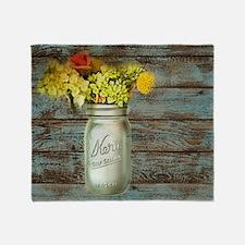 country mason jar flower  Throw Blanket