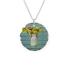 country mason jar flower  Necklace