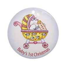 1st Christmas Snowbaby Ornament (Round)