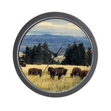 National Parks Bison Herd Wall Clock