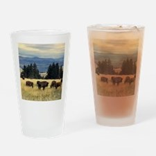National Parks Bison Herd Drinking Glass