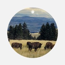 National Parks Bison Herd Round Ornament