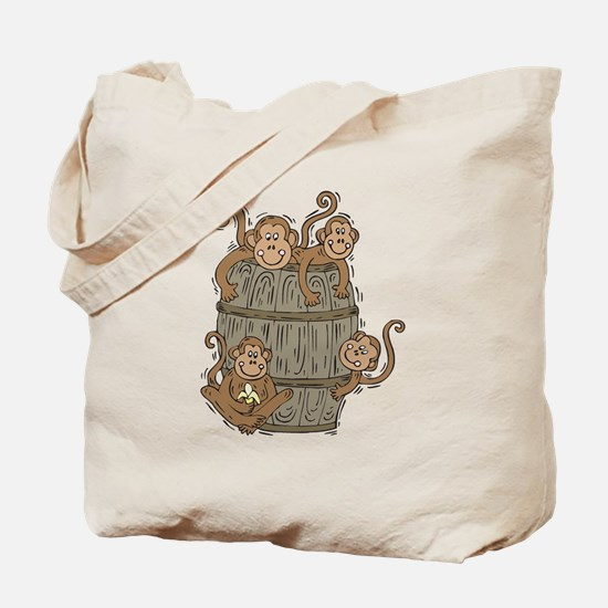 Cute Barrel of Monkeys Tote Bag