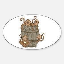 Cute Barrel of Monkeys Oval Decal
