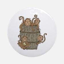 Cute Barrel of Monkeys Ornament (Round)