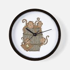 Cute Barrel of Monkeys Wall Clock