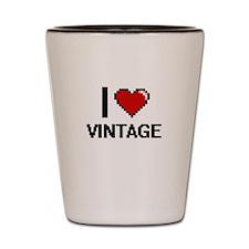 I love Vintage digital design Shot Glass