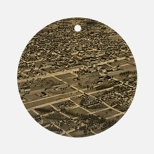 Vintage Pictorial Map of Birmingham Round Ornament