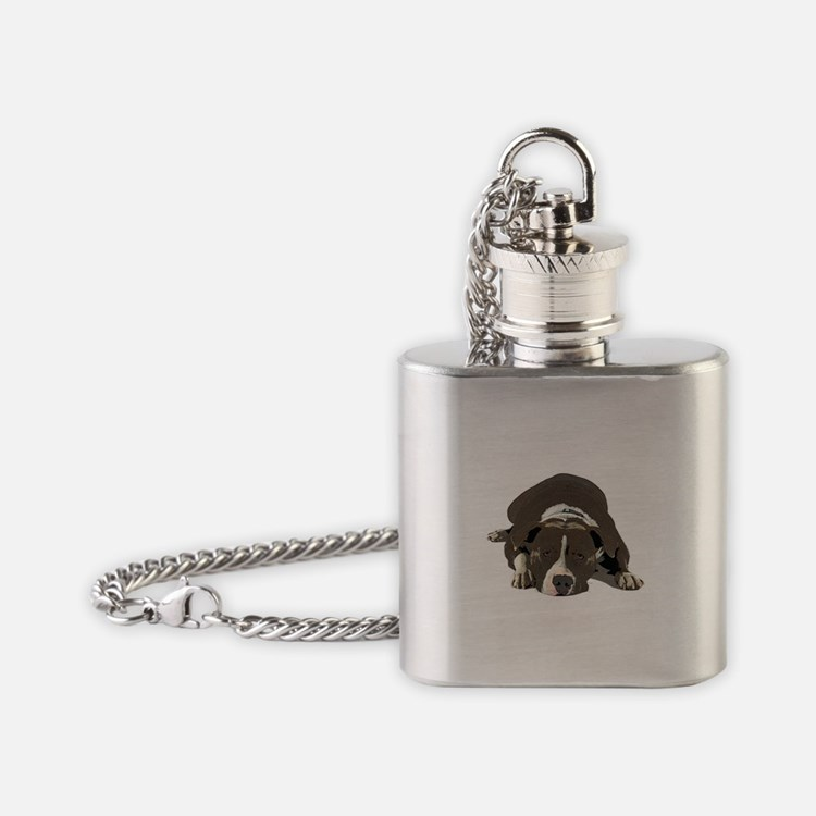 Sleepy Pit Bull look ahead Flask Necklace