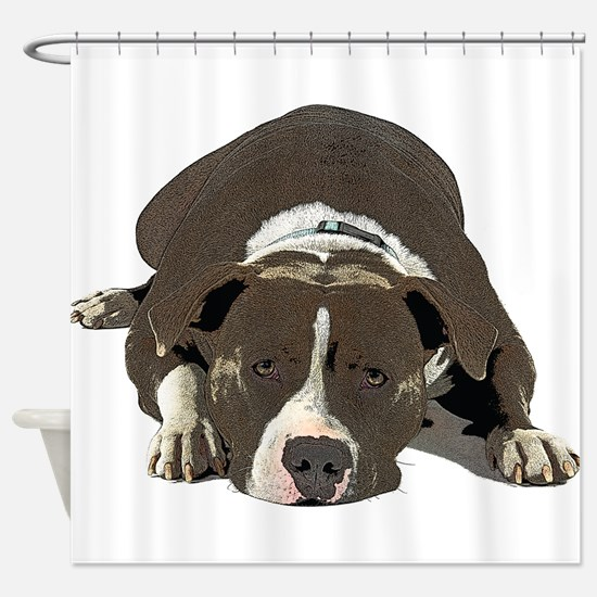 Sleepy Pit Bull look ahead Shower Curtain