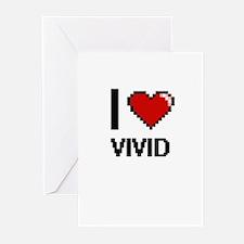 I love Vivid digital design Greeting Cards