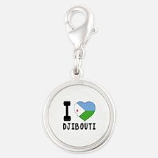 I Love Djibouti Silver Round Charm
