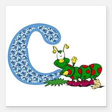 """C for caterpillar Square Car Magnet 3"""" x 3"""""""
