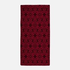 Ornate Red Gothic Pattern Beach Towel