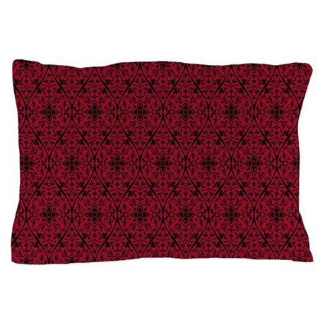 Ornate red gothic pattern pillow case by artandornament for White craft pillow cases