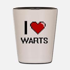 I love Warts digital design Shot Glass