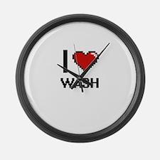 I love Wash digital design Large Wall Clock